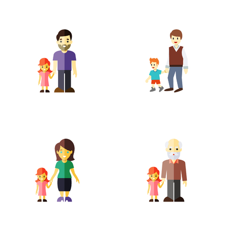 Flat Icon Relatives Set Of Boys, Grandpa, Daugther Vector Objects. Also Includes Boy, Men, Brother Elements. Ilustração