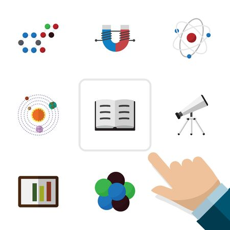 Flat Icon Knowledge Set Of Lecture, Milky Way, Molecule And Other Vector Objects. Also Includes Scope, Book, Column Elements.