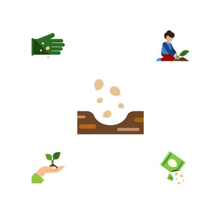 Flat Icon Sow Set Of Florist, Glove, Care And Other Vector Objects. Also Includes Soil, Packet, Hand Elements.