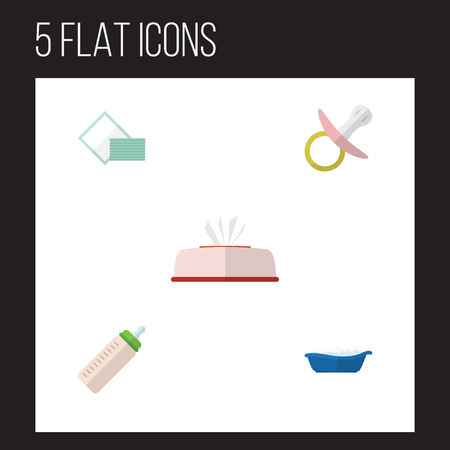 Flat Icon Child Set Of Nipple, Napkin, Feeder And Other Vector Objects. Also Includes Napkin, Nipple, Bottle Elements.
