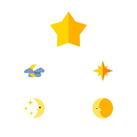 Flat Icon Midnight Set Of Starlet, Midnight, Nighttime And Other Vector Objects. Also Includes Asterisk, Sky, Cloud Elements.