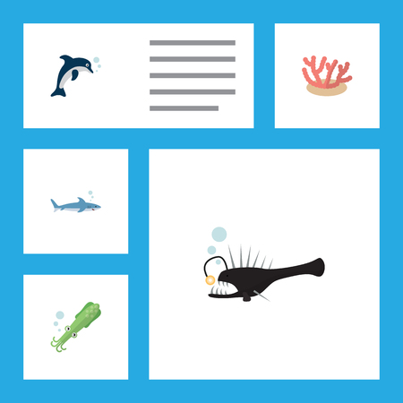 Flat Icon Sea Set Of Algae, Fish, Playful Fish And Other Vector Objects. Also Includes Playful, Shark, Dolphin Elements.