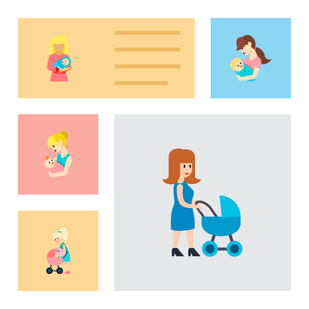 Icon flat mother set of nanny, mother, perambulator and other vector objects. Also includes mother, baby, perambulator elements. Illustration