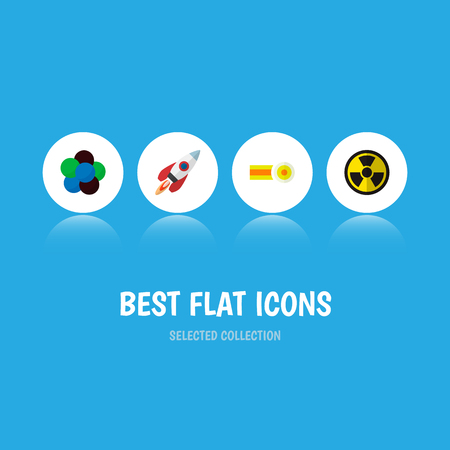 Icon flat science set of nuclear, rocket, oxygen and other vector objects. Also includes molecule, radiation, nuclear elements. Illustration