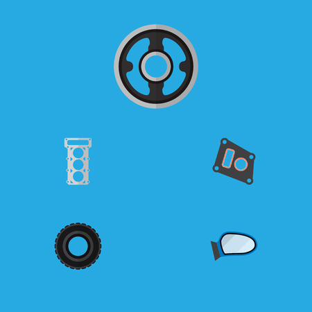 Icon flat component set of tire, mirror wing, pulley and other vector objects. Also includes car, packing, gasket elements. Illustration