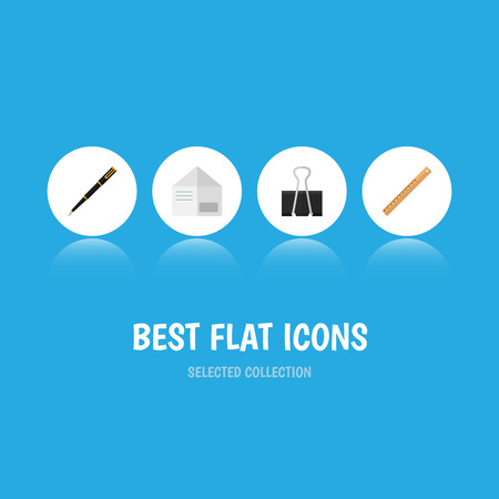 Icon flat equipment set of paper clip, nib pen, straightedge and other vector objects. Also includes nib, pushpin, letter elements.