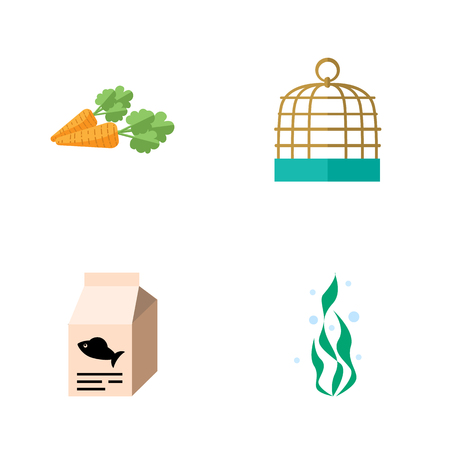 Icon flat animal set of seaweed, bird prison, root vegetable and other vector objects. Also includes water, seaweed, food elements.