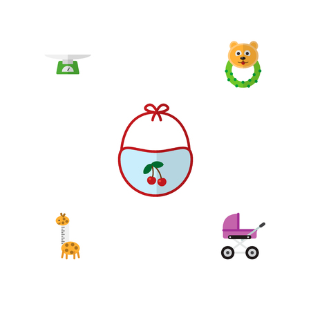 Icon flat infant set of pram, giraffe, bear beanbag and other vector objects. Also includes baby, children, rattle elements.