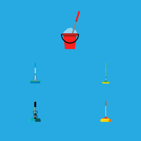 Icon flat cleaner set of equipment, cleaning, sweep and other vector objects. Also includes mop, sweeper, broom elements. Vettoriali