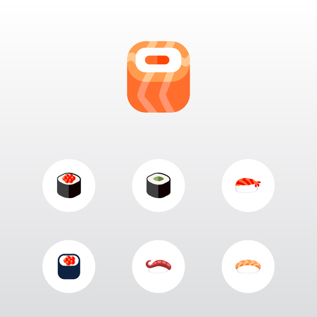 Icon flat maki set of salmon rolls, sushi, eating and other vector objects. Also includes sushi, salmon, rolls elements.