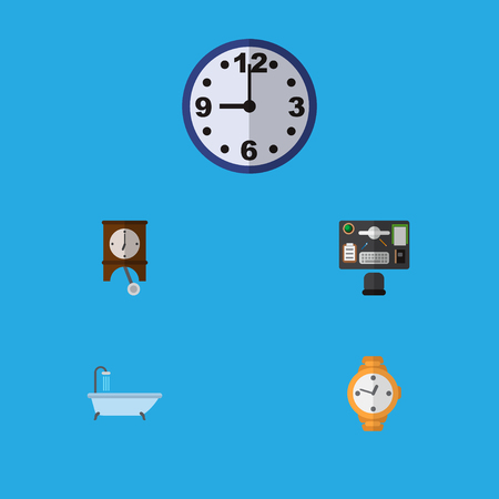 Icon flat oneday set of office desk, clock, shower and other vector objects. Also includes clock, watch, desk elements.