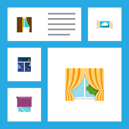 Icon flat frame set of frame, balcony, curtain and other vector objects. Also includes window, frame, glass elements.