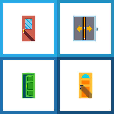 Icon flat approach set of entry, approach, elevator and other vector objects. Also includes door, exit, approach elements.
