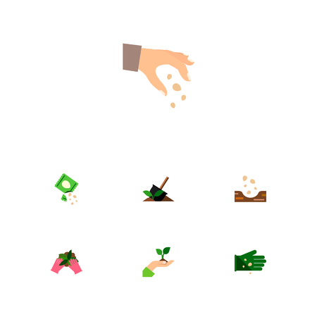 Icon flat seed set of hand, sow, legume vector objects. Also includes seed, sow, plant elements.