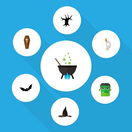Icon flat celebrate set of skull, tree monster, zombie and other vector objects. Also includes monster, terrible, cauldron elements.