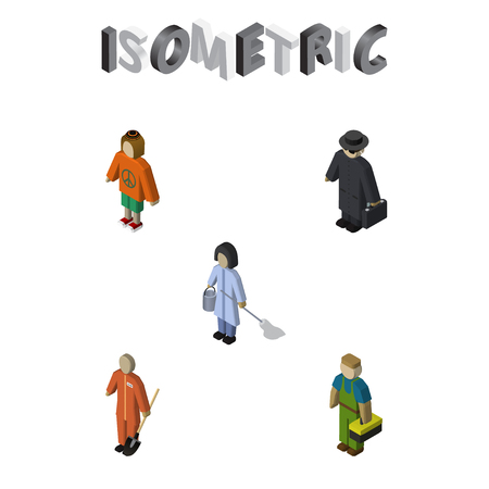 Isometric people set of detective, plumber, housemaid and other vector objects. Also includes housemaid, housekeeper, technician elements.