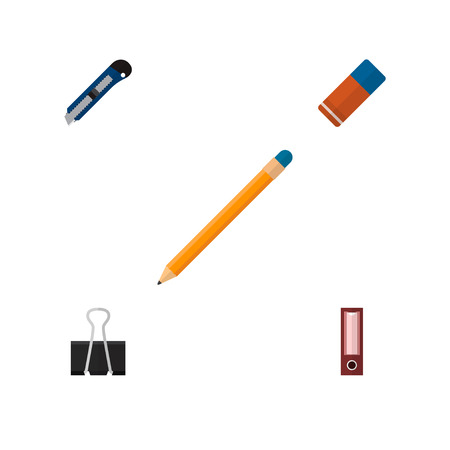 Icon flat stationery set of pencil, cutter, pushpin and other vector objects. Also includes clip, rubber, dossier elements.