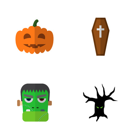 Icon flat halloween set of tree monster, zombie, coffin and other vector objects. Also includes monster, terrible, gourd elements.