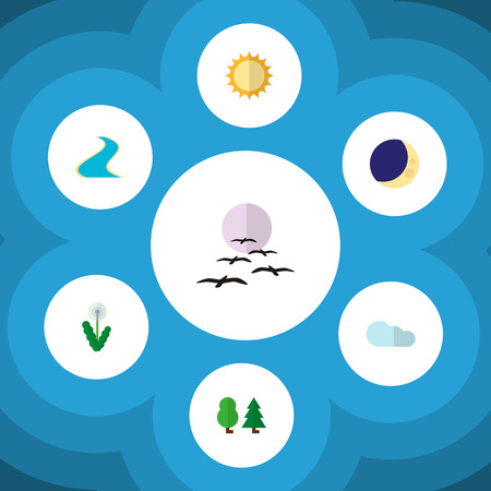 Icon flat nature set of cloud, tree, crescent and other vector objects. Also includes moon, gull, forest elements.
