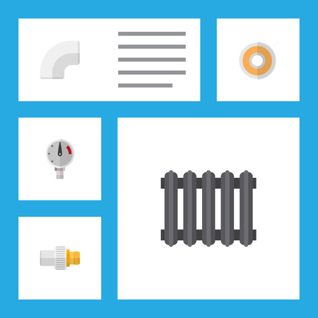 Icon flat plumbing set of radiator, drain,  tape and other objects. Also includes pipe, thermostat, scale elements.