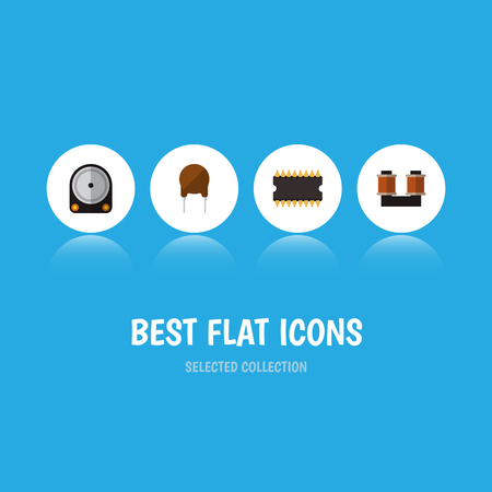 Icon flat device set of hard drive, spool, cpu and other  objects. Also includes drive, processor, copper elements. Stock Photo