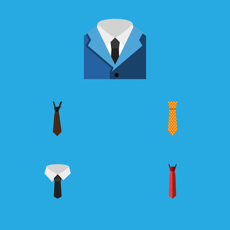 Icon flat clothing set of style, tie, suit and other vector objects. Also includes formal, style, collar elements. Illustration