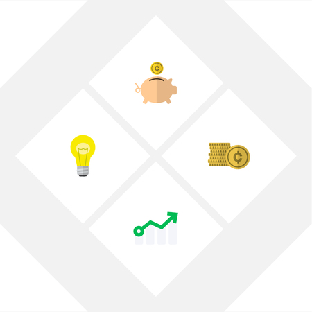 Icon flat incoming set of coin, idea, arrow and other vector objects. Also includes money, bank, box elements.