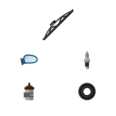 Icon flat parts set of mirror wing, tire, spark plug and other vector objects. Also includes combustion, car, wing elements. Illustration