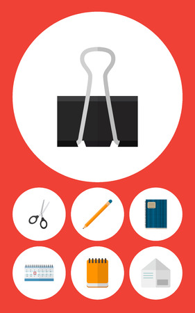 Icon flat equipment set of pushpin, notebook, pencil and other  objects. Also includes notepad, almanac, scissors elements. Stock Photo
