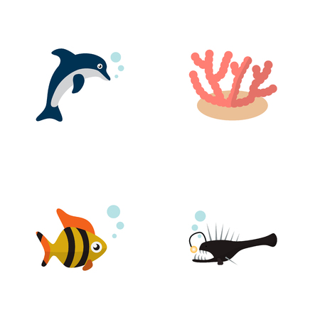 Icon flat nature set of tuna, anglerfish, dolphin and other vector objects. Also includes fish, playful, seaweed elements. Illustration