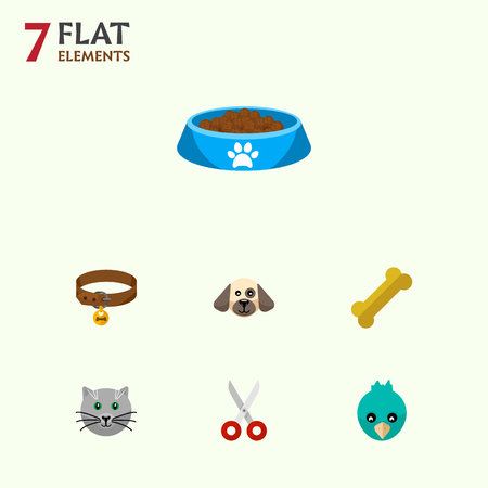 Icon flat pets set of bird, bone, kitty food and other vector objects. Also includes food, dog, cat elements. Illustration