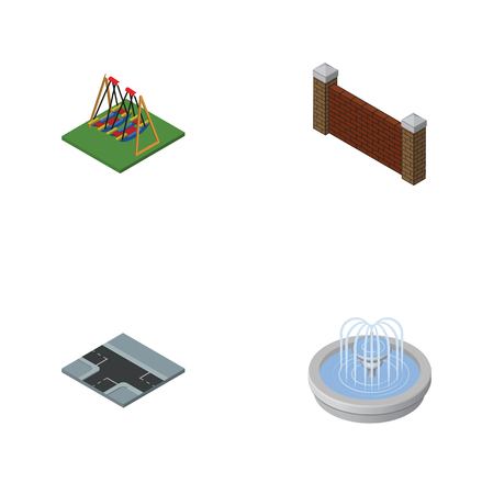 Isometric urban set of park decoration, barrier, crossroad and other vector objects. Also includes seesaw, wall, water elements. Illustration