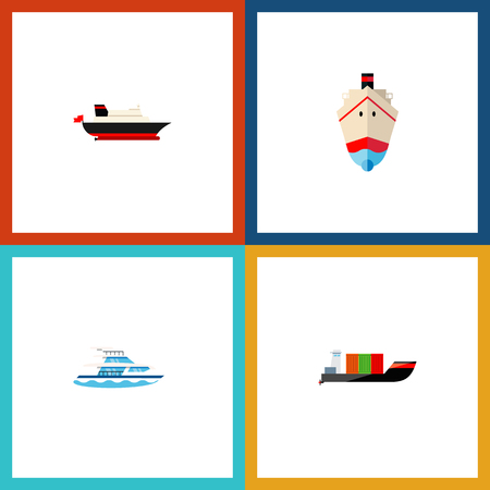 Icon flat ship set of cargo, shipping, transport and other vector objects. Also includes ship, cargo, transport elements.