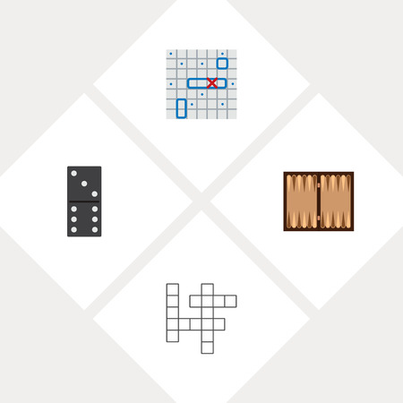 Icon flat entertainment set of backgammon, battle ship, domino and other vector objects. Also includes game, battle elements.