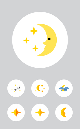 Icon flat midnight set of nighttime, midnight, twilight and other vector objects. Also includes star, moon, sky elements. Illustration