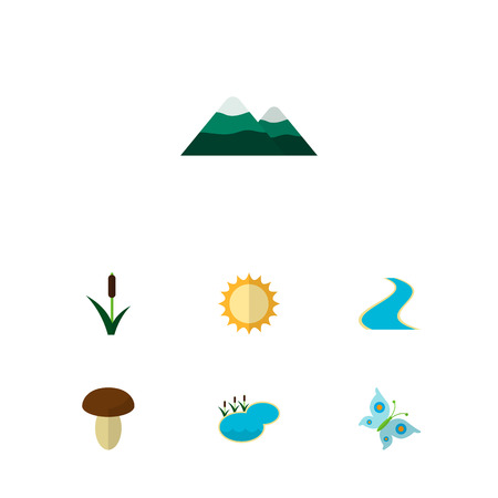 Icon flat ecology set of butterfly, mountain, sun and other vector objects. Also includes pinnacle, lagoon, fungi elements.