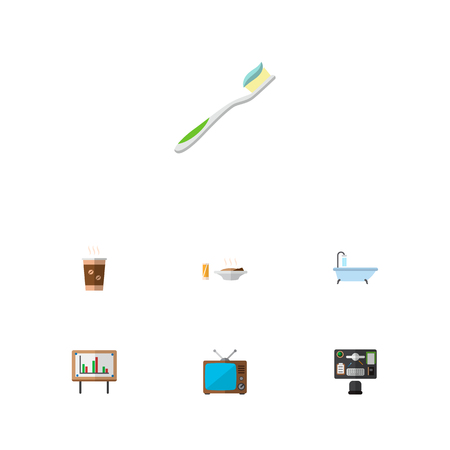 Icon flat oneday set of shower, old tv, toothbrush and other vector objects. Also includes toothbrush, shower, cappuccino elements.