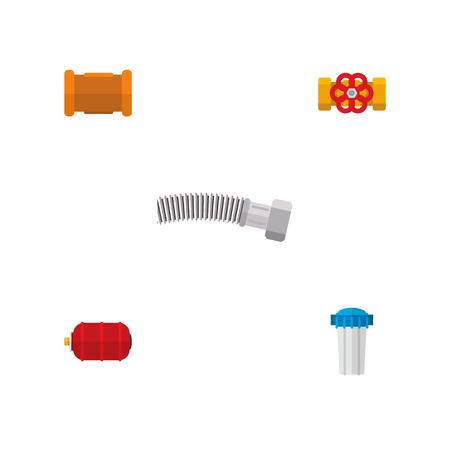 Icône plate pipeline ensemble de réservoir d'eau, bride, fonte et autres objets vectoriels. Comprend également de l'eau, des tuyaux et des éléments de conteneur.