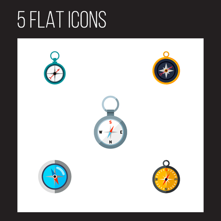 Icon flat direction set of compass, orientation, magnet navigator and other vector objects. Also includes navigation, dividers, measurement elements.