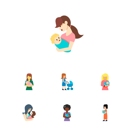 Icon flat mam set of woman, parent, kid and other vector objects. Also includes mother, baby, woman elements.