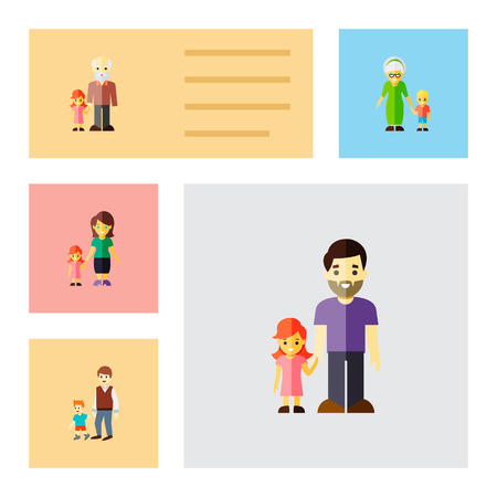 Icon flat people set of daugther, grandchild, brothers vector objects. Also includes family, father, daugther elements.
