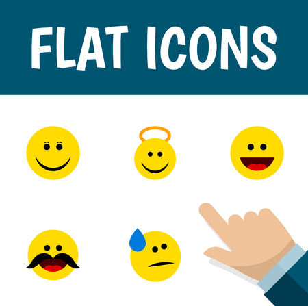 Icon flat face set of cold sweat, cheerful, grin and other vector objects. Also includes face, cheerful, smile elements.