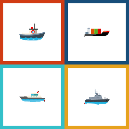 Icon flat boat set of cargo, yacht, boat and other vector objects. Also includes ship, vessel, transport elements.