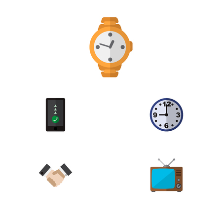 Icon flat lifestyle set of handshake, clock, old tv vector objects. Also includes clock, greeting, time elements.