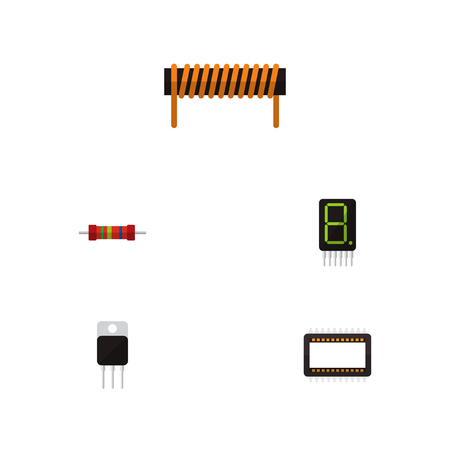 Icon flat electronics set of unit, calculator, transistor and other vector objects. Also includes bobbin, unit, receiver elements. Illustration