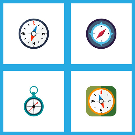 Icon flat compass set of divider, instrument, navigation and other vector objects. Also includes compass, orientation, navigation elements. 版權商用圖片 - 96391619