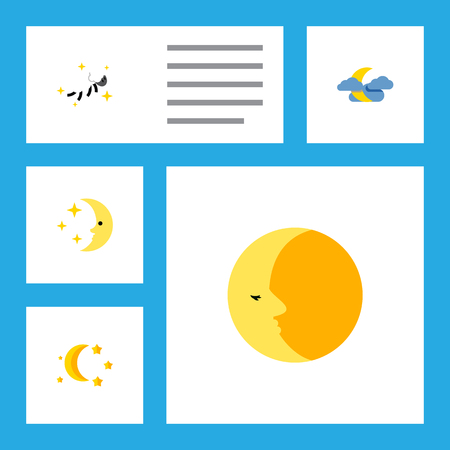 Icon flat night set of moon, nighttime, midnight and other vector objects. Also includes moon, star, nighttime elements.