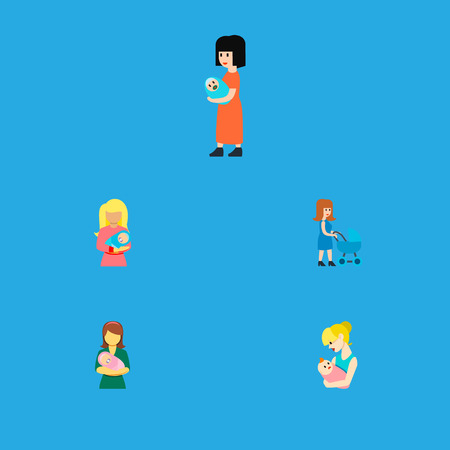 Icon flat mam set of woman, mother, kid and other vector objects. Also includes mother, baby, woman elements.
