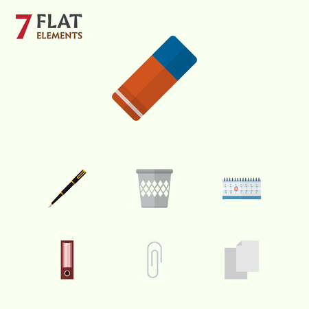 Icon flat tool set of blank, clip, bin and other  objects. Also includes file, clip, pen elements. 스톡 콘텐츠