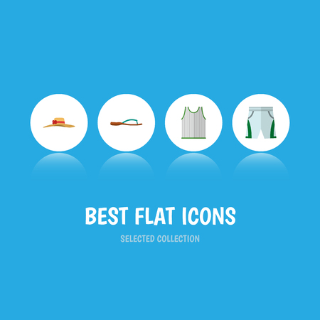 Icon flat garment set of sleeveless tank, shorts, woman hat and other  objects. Also includes shorts, woman, tank elements. Stock Photo